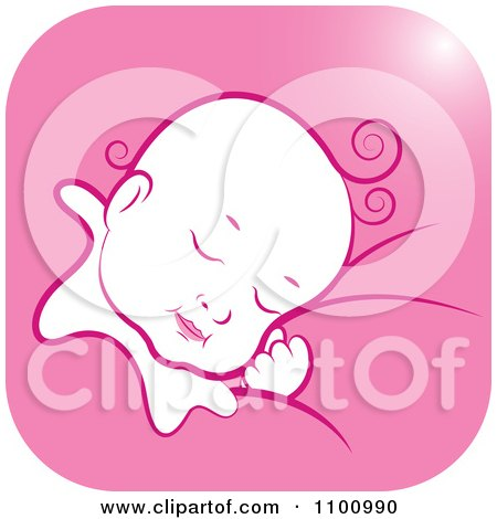 Clipart Sleeping Baby In A Pink Square - Royalty Free Vector Illustration by Lal Perera