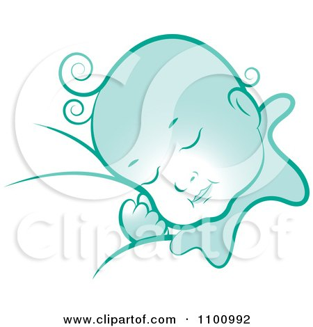 Clipart Blue Sleeping Baby - Royalty Free Vector Illustration by Lal Perera