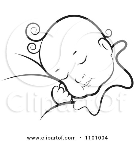Black and white sleeping baby posters art prints