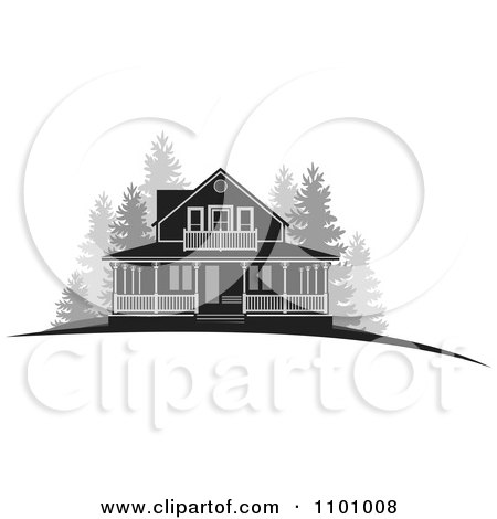 Clipart Grayscale Farm House With Woods - Royalty Free Vector Illustration by Lal Perera