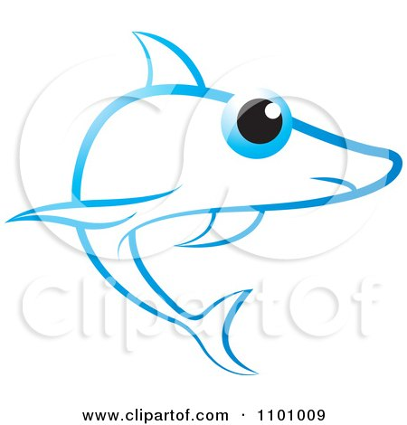 Clipart Blue Shark With A Big Eye - Royalty Free Vector Illustration by Lal Perera