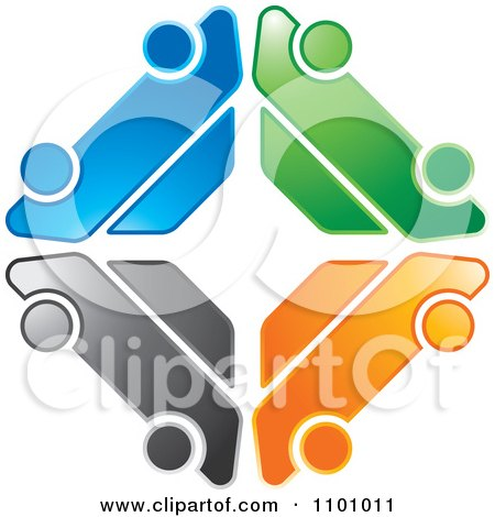 Clipart Colorful Logo Made Of Four Cars In A Diamond - Royalty Free Vector Illustration by Lal Perera