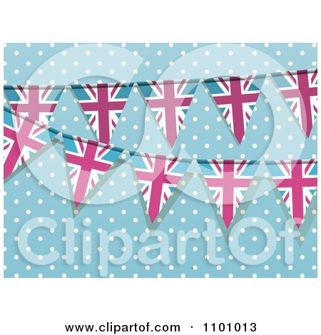 Clipart Pink And Blue Union Jack Bunting Flag Banners Over Blue And Polka Dots - Royalty Free Vector Illustration by elaineitalia