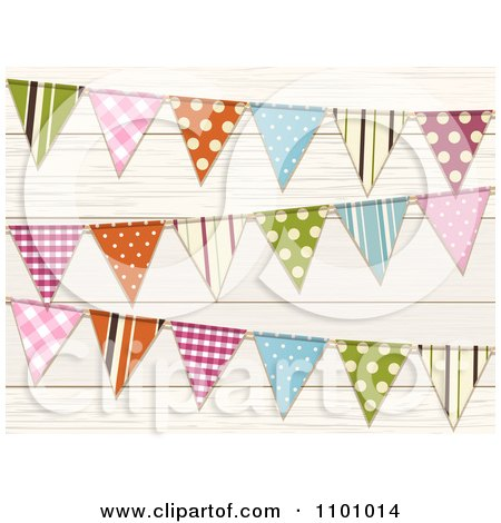 Clipart Colorful Patterned Bunting Flags Over Wood - Royalty Free Vector Illustration by elaineitalia