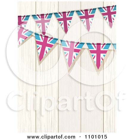 Clipart Union Jack Flag Buntings Against White Wood - Royalty Free Vector Illustration by elaineitalia