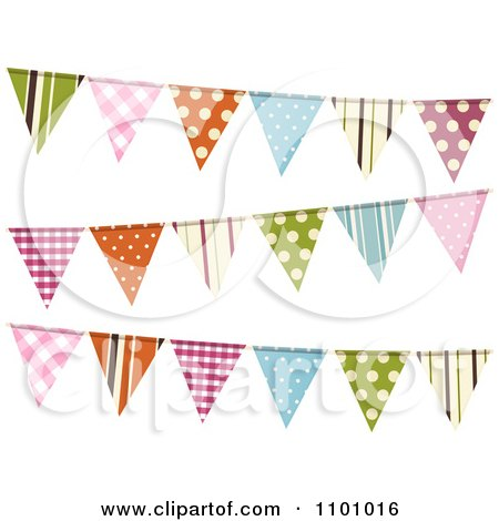 Clipart Colorful Patterned Bunting Flags On White - Royalty Free Vector Illustration by elaineitalia
