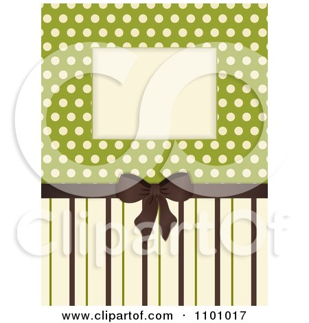 Clipart Retro Invitation Background With A Brown Bow And Ribbon Over Polkda Dots On Green With Stripes - Royalty Free Vector Illustration by elaineitalia