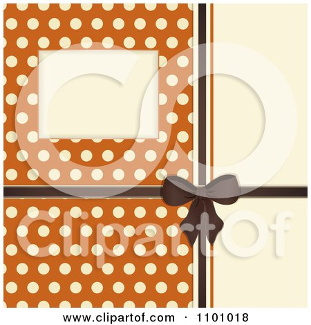 Clipart Retro Invitation Background With A Brown Bow And Ribbon Over Polkda Dots On Orange - Royalty Free Vector Illustration by elaineitalia