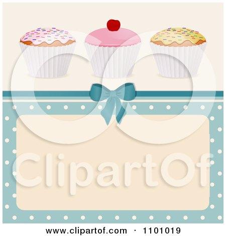 Clipart 3d Birthday Cupcakes Over A Blue Polka Dot Frame And Bow - Royalty Free Vector Illustration by elaineitalia