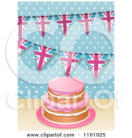 Clipart 3d Birthday Cake With Hpink Frosting And Union Jack Buntings Over Polkda Dots - Royalty Free Vector Illustration by elaineitalia