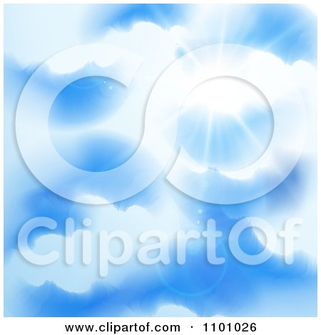 Clipart Sun Shining Through Puffy Clouds In A Blue Sky - Royalty Free Vector Illustration by MilsiArt