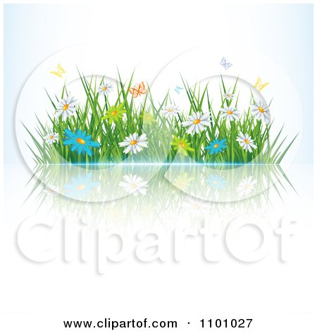 Clipart Butterflies Over Spring Daisies And Grass With A Reflection - Royalty Free Vector Illustration by MilsiArt