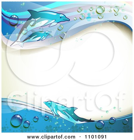 Clipart Background Of Swimming Dolphins With Blue Waves And Droplets Bordering Copyspace - Royalty Free Vector Illustration by merlinul