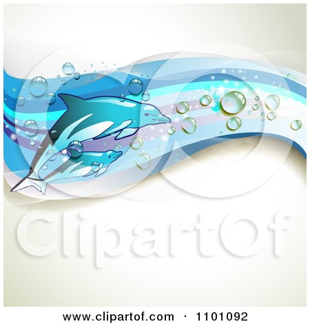 Clipart Background Of Swimming Dolphins With Blue Waves And Droplets Over Copyspace - Royalty Free Vector Illustration by merlinul