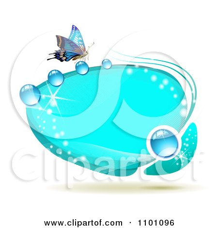 Clipart Bright Blue Oval Dewy Frame With A Butterfly - Royalty Free Vector Illustration by merlinul
