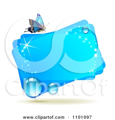 Clipart Bright Blue Rectangular Dewy Frame With A Butterfly - Royalty Free Vector Illustration by merlinul