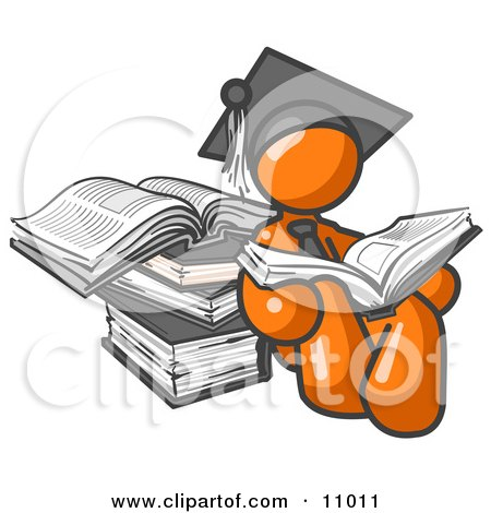 Orange Male Student in a Graduation Cap, Reading a Book and Leaning Against a Stack of Books Clipart Illustration by Leo Blanchette
