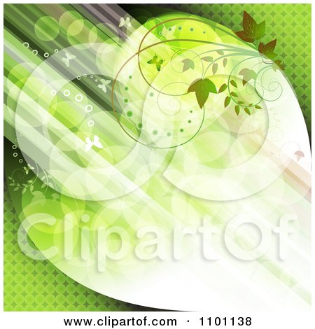 Clipart Diagonal Streaks Of Green Light With Butterflies And Vines - Royalty Free Vector Illustration by merlinul
