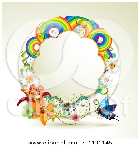 Clipart Circular Rainbow Flower And Clover Frame With A Buttefly - Royalty Free Vector Illustration by merlinul