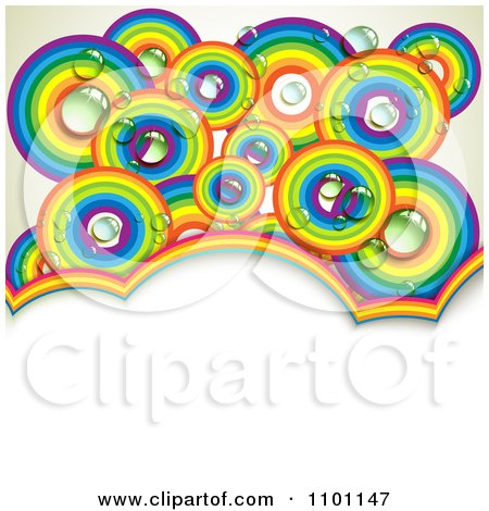 Clipart Dewy Rainbow Circles Over Copyspace - Royalty Free Vector Illustration by merlinul