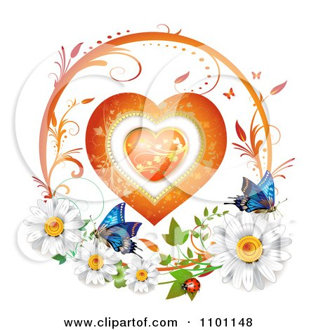 Clipart Circular Floral Heart Vine Frame With Daisies Ladybug And Butterflies 2 - Royalty Free Vector Illustration by merlinul