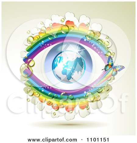 Clipart Butterfly With Dew Clovers And Rainbows Around An Eye Globe - Royalty Free Vector Illustration by merlinul