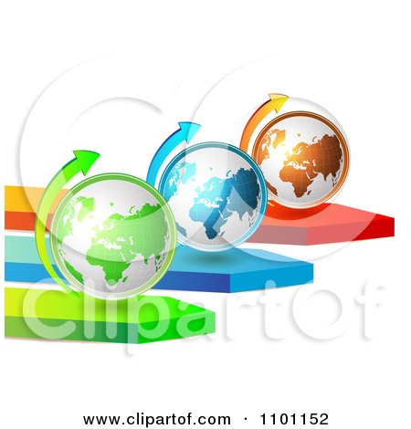 Clipart 3d Green Blue And Orange Globes With Arrows - Royalty Free Vector Illustration by merlinul