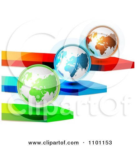 Clipart 3d Green Blue And Orange Globes On Arrows - Royalty Free Vector Illustration by merlinul