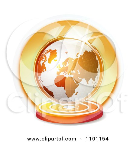 Clipart 3d Orange Globe Floating In A Shiny Sphere - Royalty Free Vector Illustration by merlinul