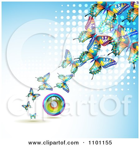 Clipart Colorful Butterflies With A Circle Rainbow Over Blue With White Dots - Royalty Free Vector Illustration by merlinul