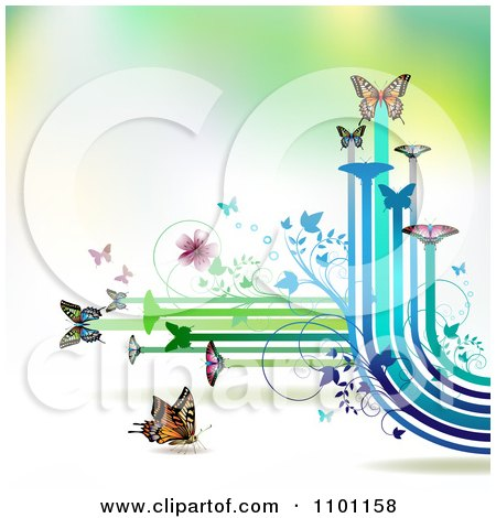 Clipart Butterflies With Vines And Color Trails On Gradient 1 - Royalty Free Vector Illustration by merlinul