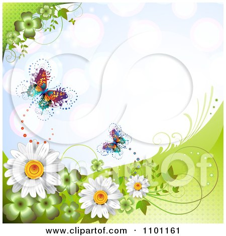 Clipart Spring Butterflies With Clovers Vines And Daisies Over Blue - Royalty Free Vector Illustration by merlinul