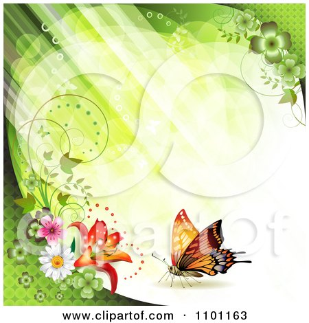 Clipart Diagonal Green Streaks Of Light With Vines Flowers And Butterflies - Royalty Free Vector Illustration by merlinul