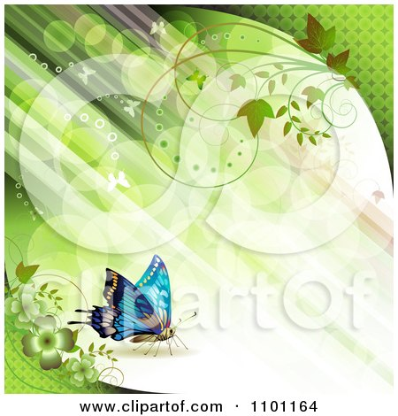Clipart Diagonal Green Streaks Of Light With Vines And Butterflies - Royalty Free Vector Illustration by merlinul