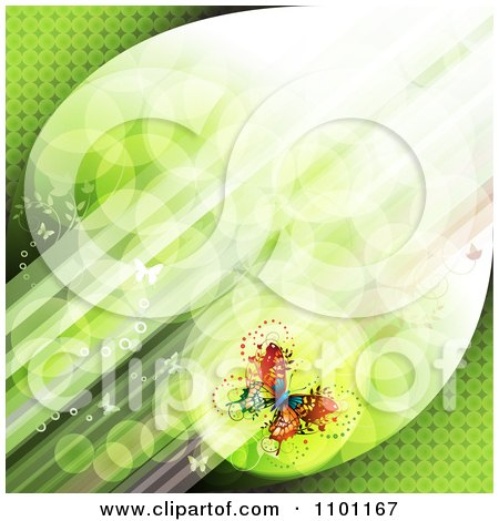Clipart Diagonal Green Streaks Of Light With Butterflies - Royalty Free Vector Illustration by merlinul