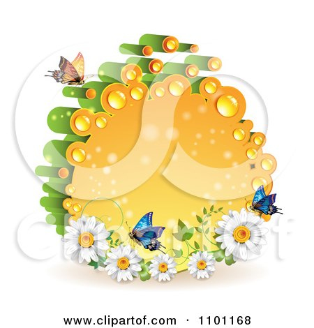 Clipart Orange And Green Dewy Circle With Butterflies And Daisies - Royalty Free Vector Illustration by merlinul