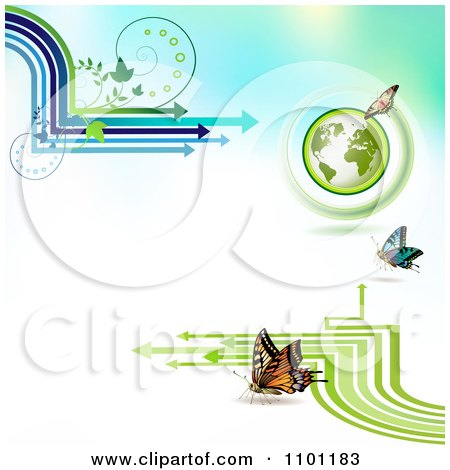 Clipart Butterflies With Vines A Globe And Arrows On Gradient - Royalty Free Vector Illustration by merlinul