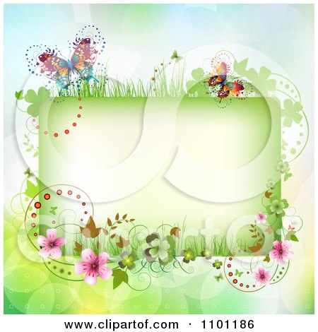 Clipart Floral Rectangle Frame With Butterflies  On Gradient With Flares - Royalty Free Vector Illustration by merlinul