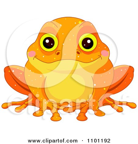 Clipart Happy Cute Golden Toad - Royalty Free Vector Illustration by Pushkin