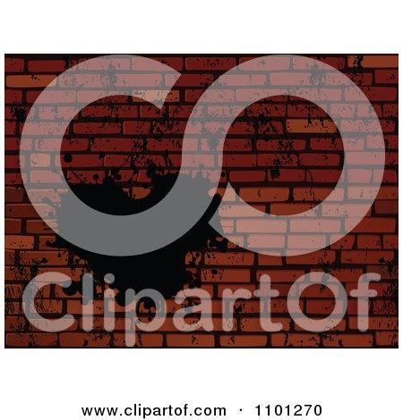 Clipart Grungy Black Heart Splatter On A Brick Wall Royalty Free Vector Illustration