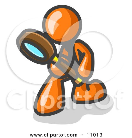 Orange Man Bending Over to Inspect Something Through a Magnifying Glass Clipart Illustration by Leo Blanchette