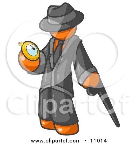 Orange Businessman Checking His Pocket Watch Clipart Illustration by Leo Blanchette