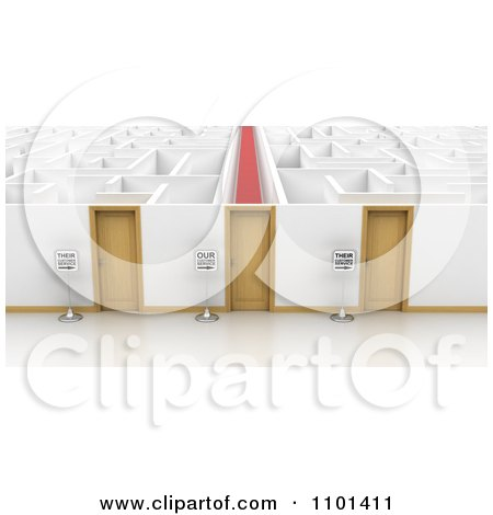 Clipart 3d Signs By Three Doors That Open To Different Ways How Companies Treat Their Customers In A Maze - Royalty Free CGI Illustration by stockillustrations