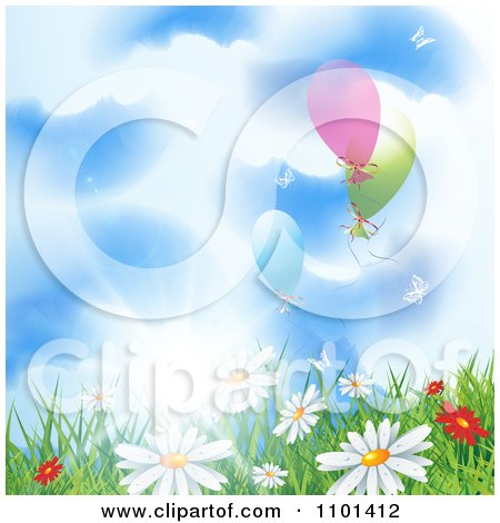 Clipart Background Of Wild Spring Daisies In Grass Under A Sunny Sky With Balloons - Royalty Free Vector Illustration by MilsiArt