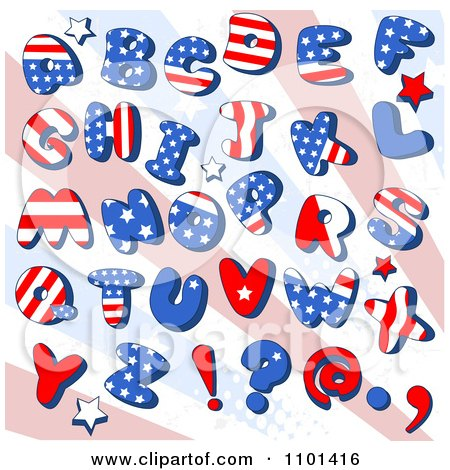 Clipart Patriotic American Capital Letters With Stars Over Rays - Royalty Free Vector Illustration by Pushkin