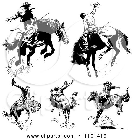 Clipart Retro Black And White Rodeo Cowboys On Bucking Horses - Royalty Free Vector Illustration by BestVector