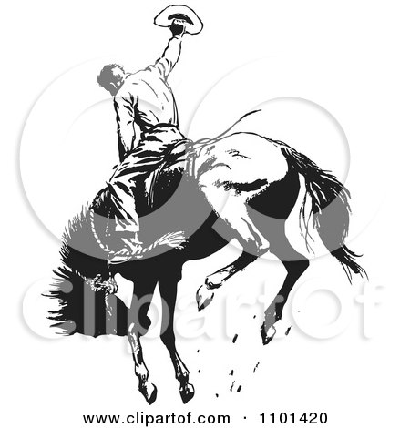Clipart Retro Black And White Rodeo Cowboy On A Bucking Horse 1 - Royalty Free Vector Illustration by BestVector
