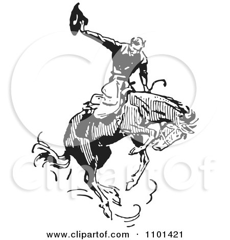 Clipart Retro Black And White Rodeo Cowboy On A Bucking Horse 2 - Royalty Free Vector Illustration by BestVector