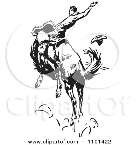 Clipart Retro Black And White Rodeo Cowboy On A Bucking Horse 3 - Royalty Free Vector Illustration by BestVector