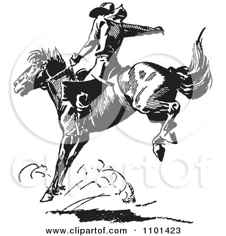 Clipart Retro Black And White Rodeo Cowboy On A Bucking Horse 4 - Royalty Free Vector Illustration by BestVector